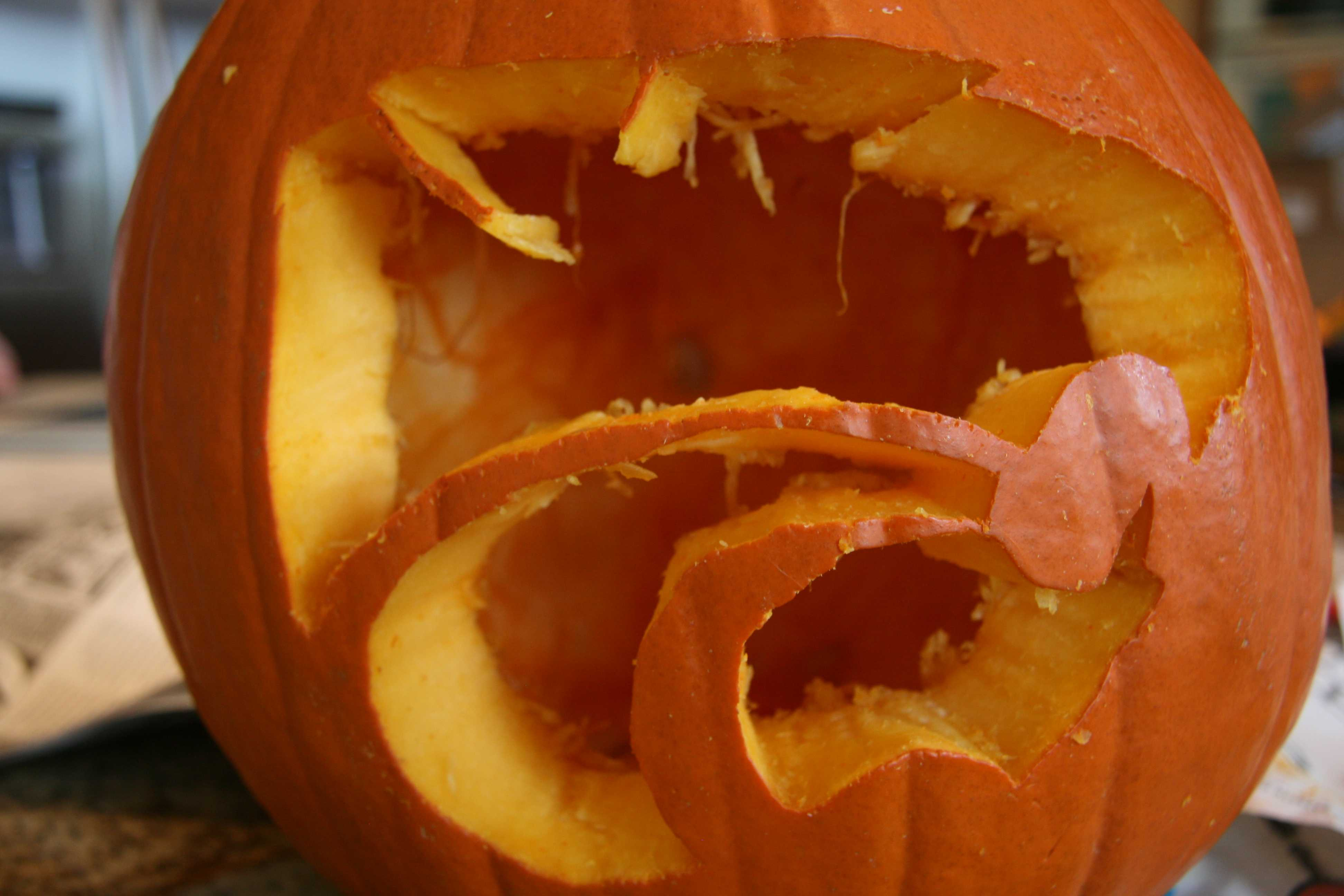 The final design of the pumpkin after the carving process is complete.