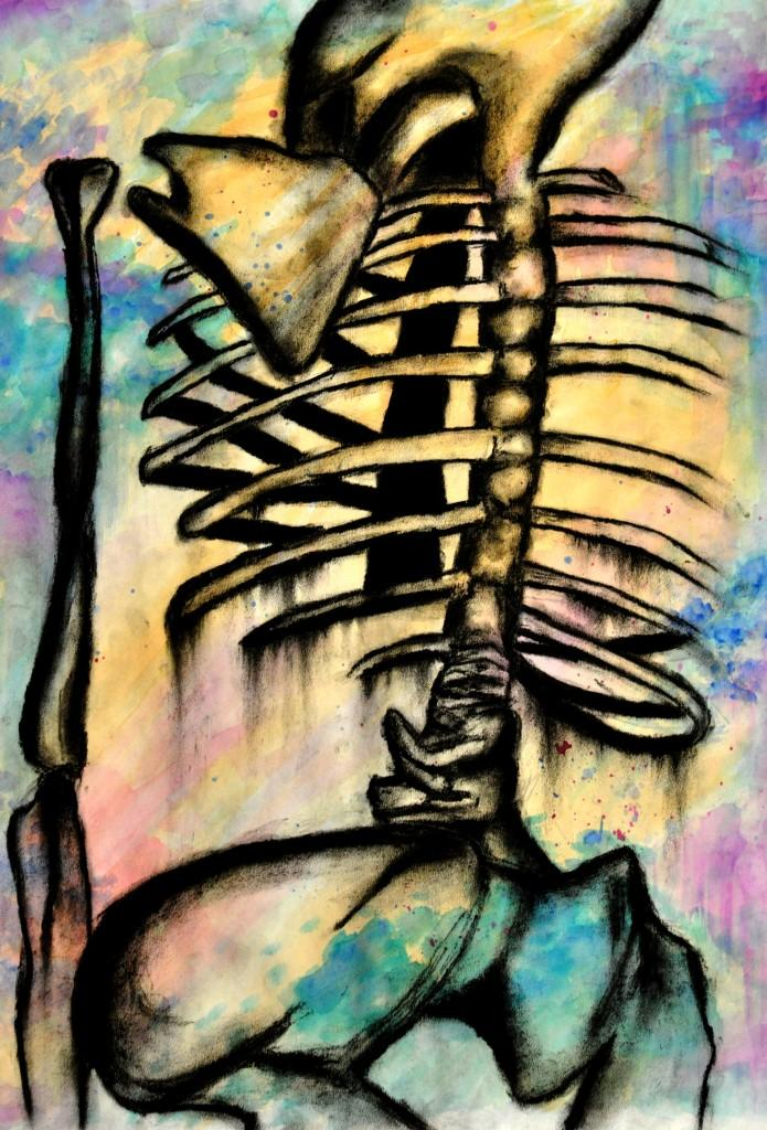 Skeleton+created+by+Peggy+Wang%2C+sr.%2C+with+charcoal+and+water+colors.