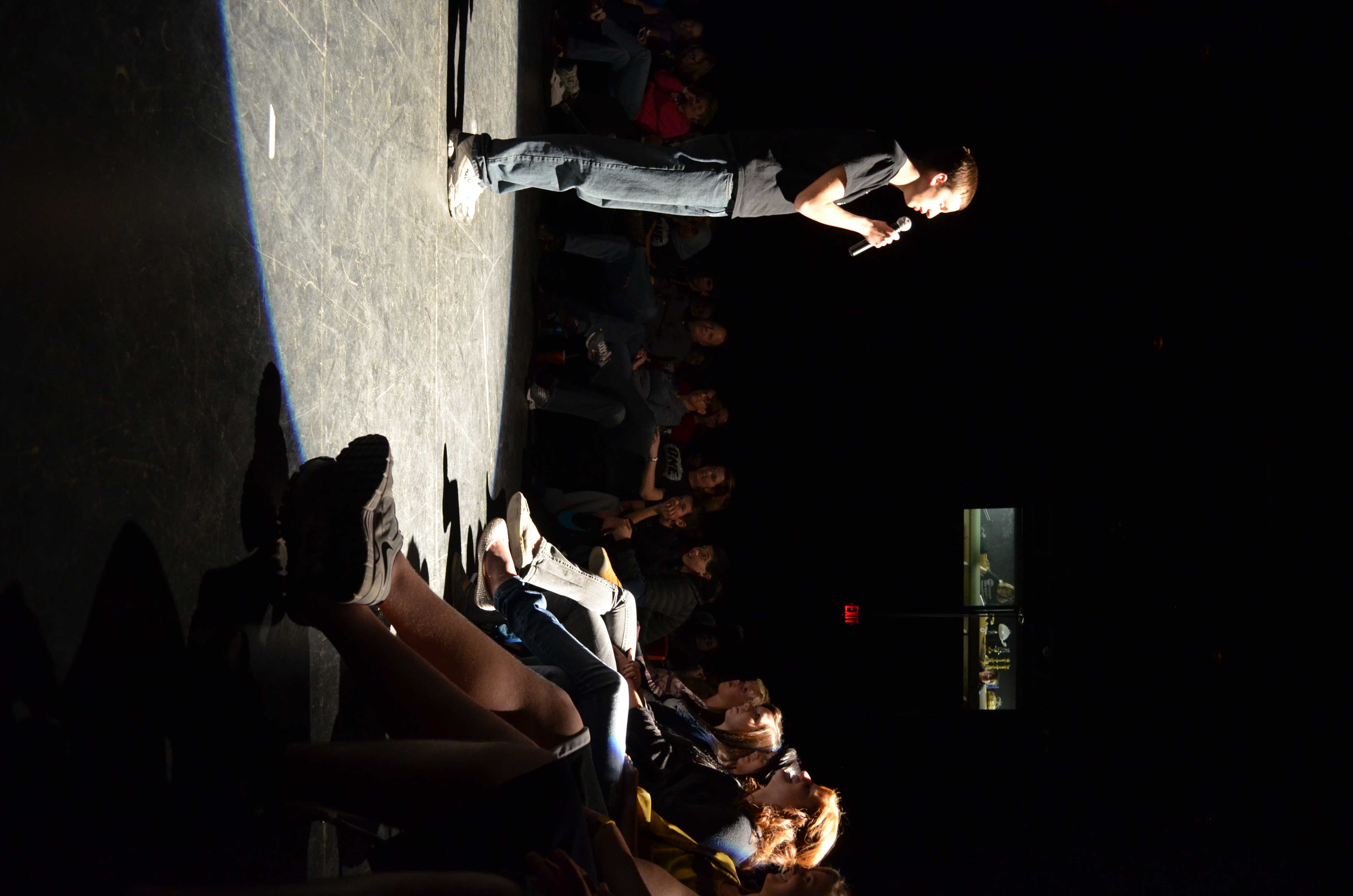 Shane Neisen, sr., performs a one man act.