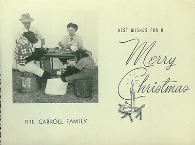 Carrell's family's 1954 Christmas card