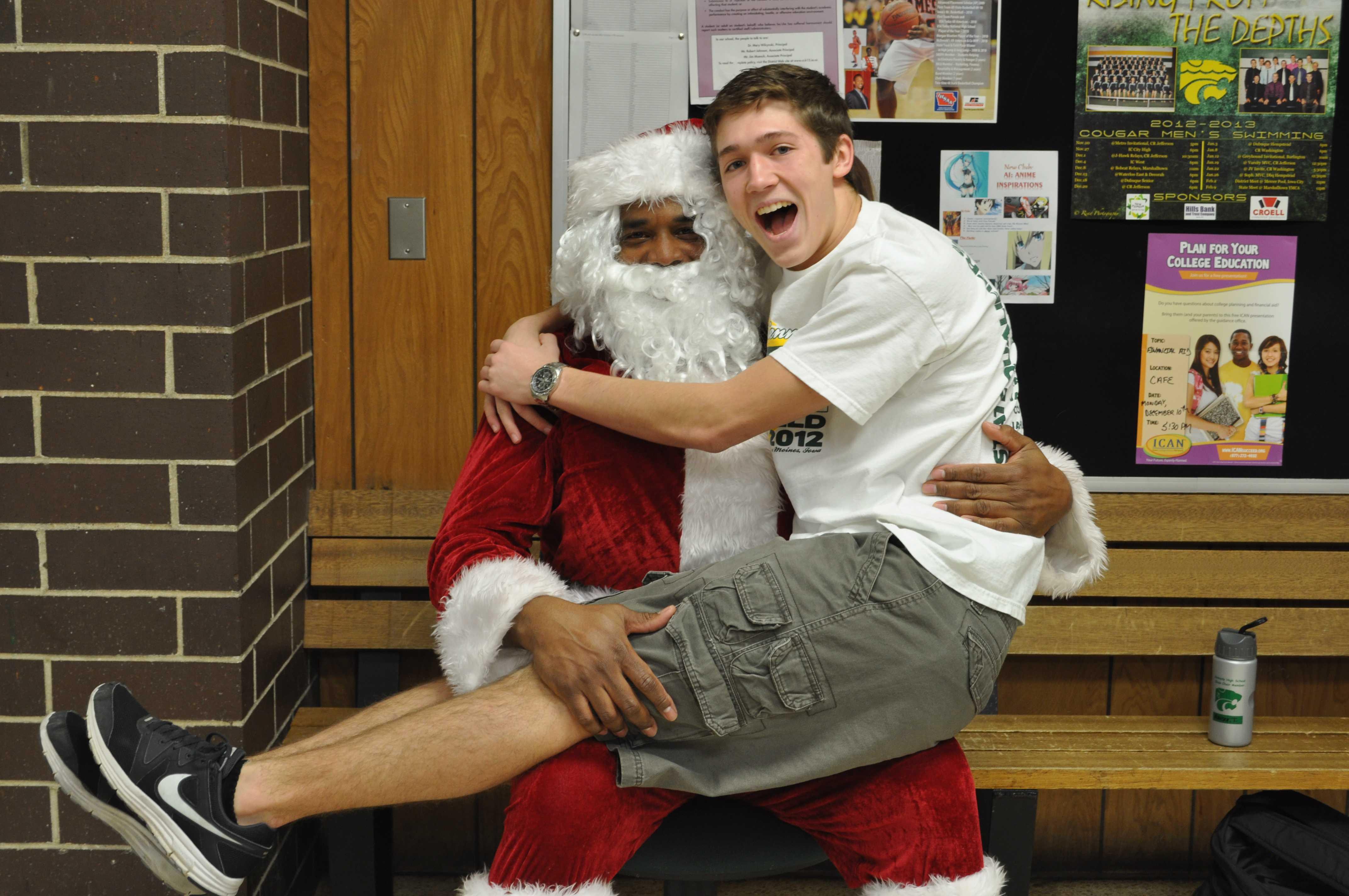 Senior Tommy Kaiser visits Santa.