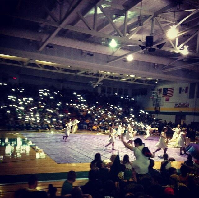 Kennedy+winter+guard+performs+at+the+winter+pep+assembly.+
