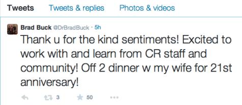 Tweet from Dr. Buck