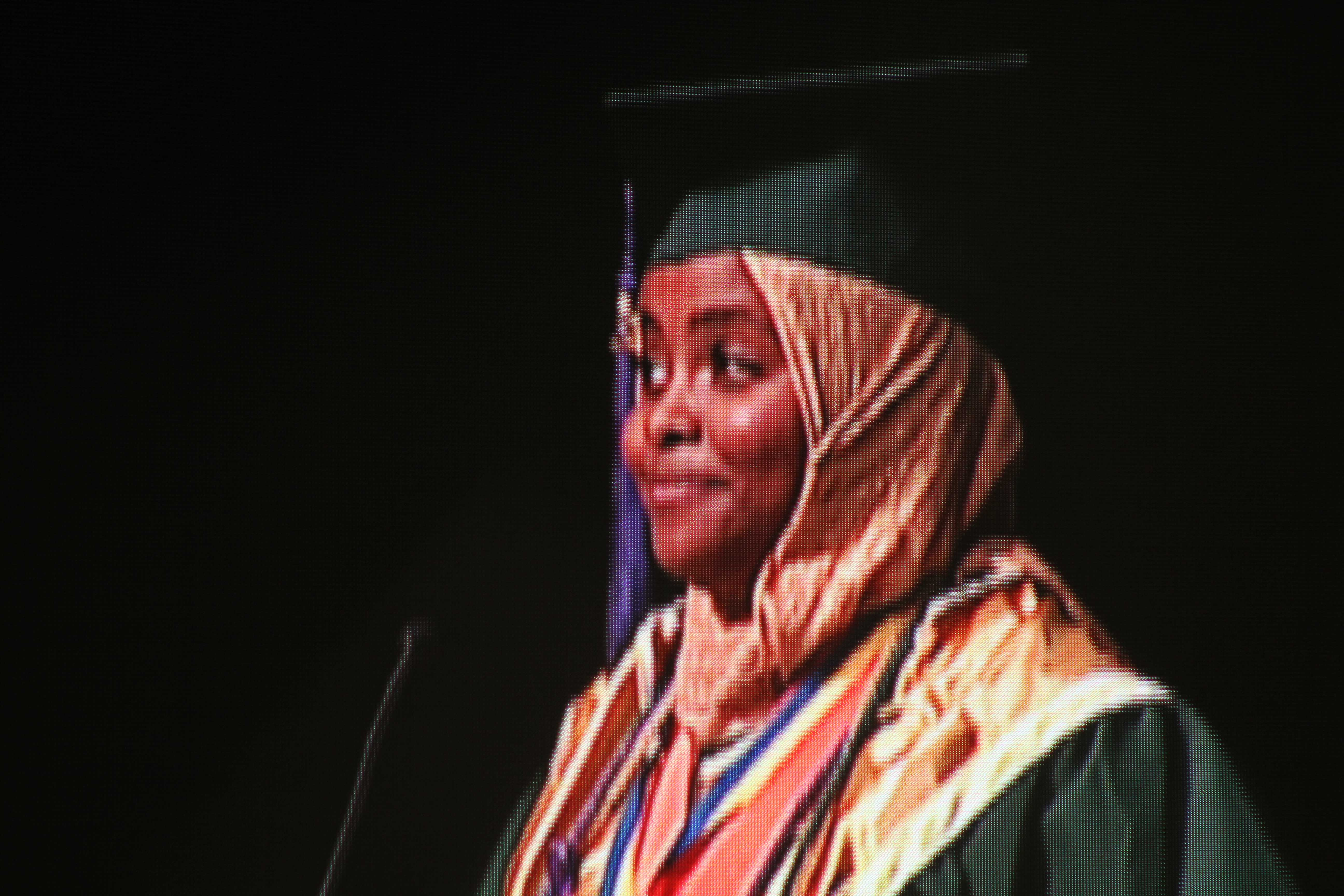 Senior Class President Fatima Elsheikh encourages her classmates to take on challenges.
