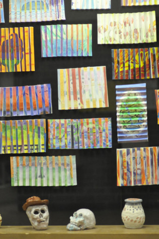 Artwork on display near the art wing