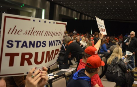 Trump supporters at Iowa Caucus in early February of 2016. Photo by Nathan Sheeley.