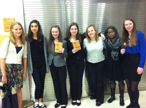 Part of the Kennedy Debate Team (left to right): Elise Williams, Mira Hemaidan, Emily Robinson, Mackenzie Pattridge, Laura Shook, Afnan Elshiekh, Olivia Schirm
