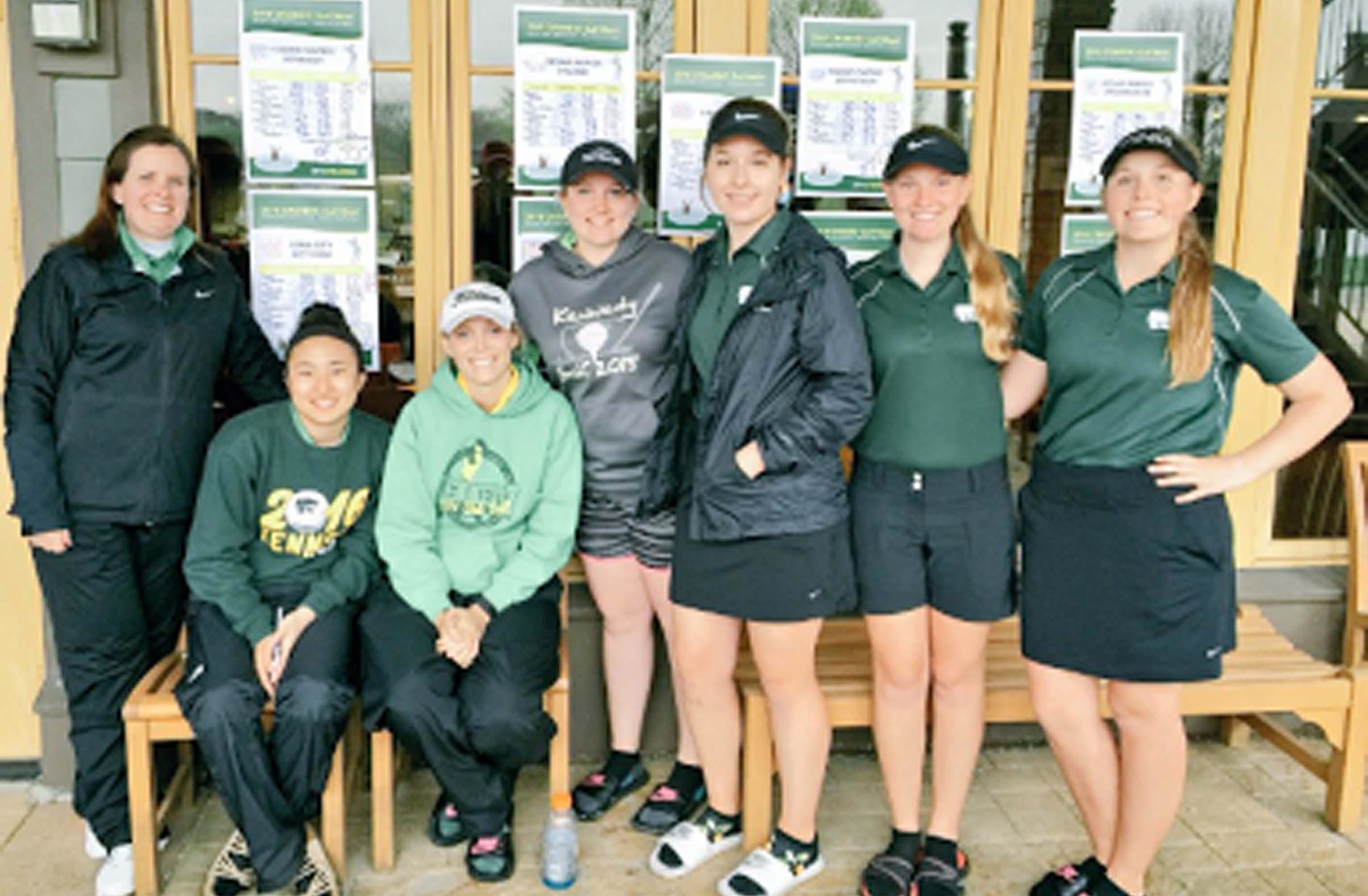 Coach Julie Buerman, Katie Choate, Avery Haefner, Jenna Hauschild, Nicole Decoste, Valarie Davidson, Sierra Hargens.