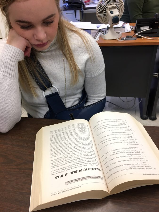 Brooke Timmerman, sr., studies for her AP Comparative Government final