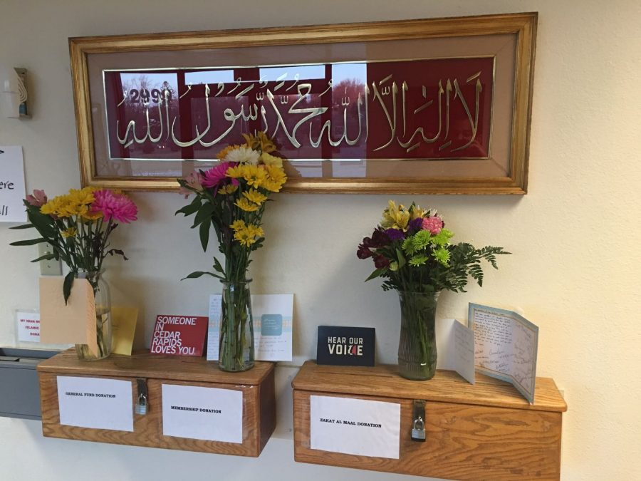 Gifts+and+letters+from+community+on+display+at+the+Islamic+Center+of+Cedar+Rapids.+Photo+provided+by+Afnan+Elshiekh.