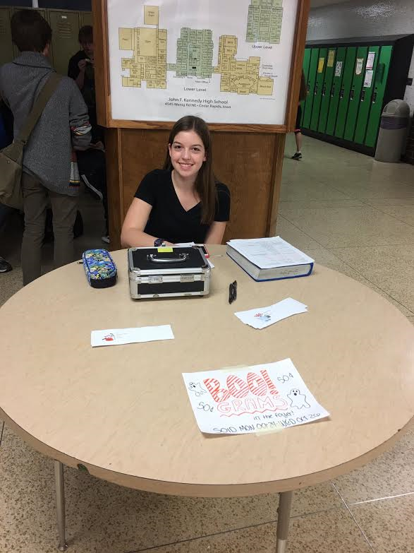 Mackenzie Pattridge vice presdient for the class 2019 selling boo grams.  Photo courtsey  of Olivia Schirm.