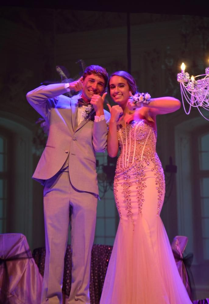 Olivia Green sr., and Sam Mead jr., give a big thumbs up at the grand march.
