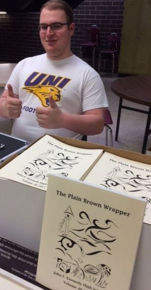 Peyton McGuire is one of the many Kennedy student writers in the 2017 Plain Brown Wrapper Literary Magazine. PBWs are selling in the foyer today for $4.