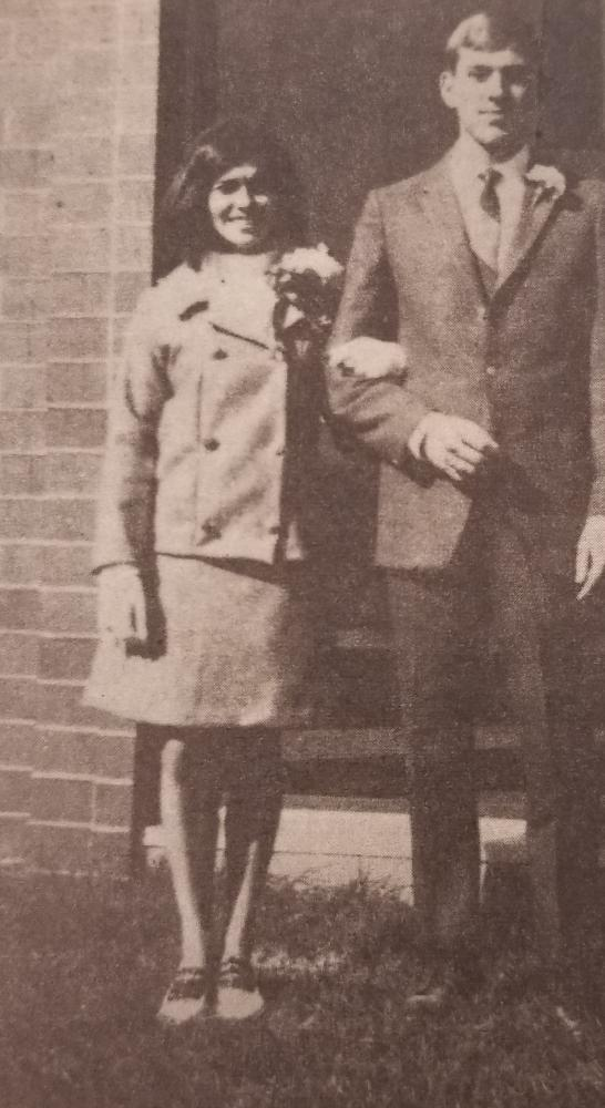 Dyan Kach and her escort, Rick Netolicky, after being presented to the 1967 Kennedy student body at a pep assembly.