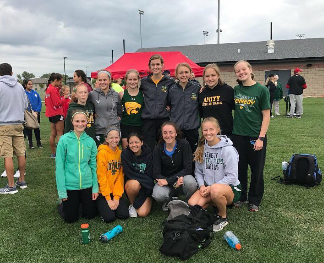 Kennedy Women's Cross Country team after their meet at Linn-Mar.