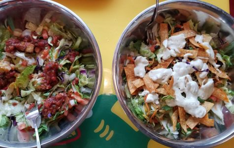 Fuzzy Taco's grilled veggie and grilled fish salads.