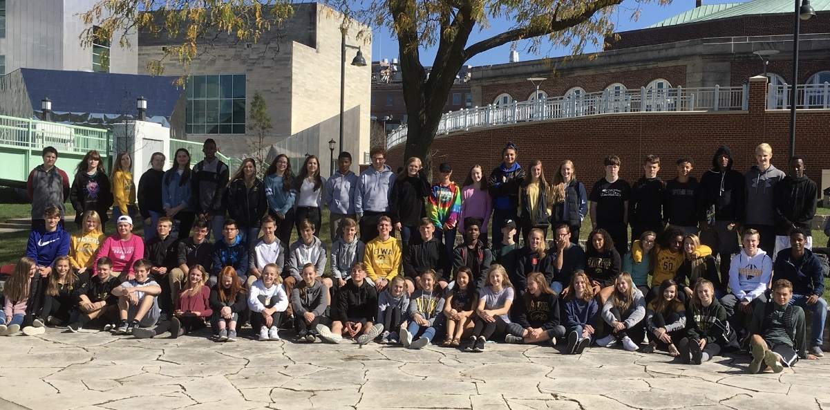 Kennedy students gather at the end of their University of Iowa tour.