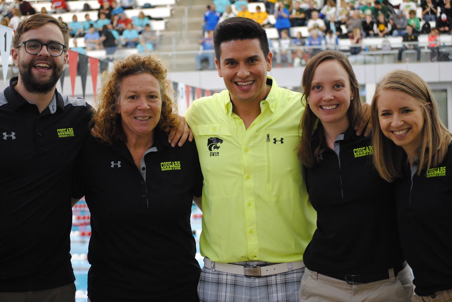 Swimming and Diving coaches from left to right: Sam Raiche, Leslie Nelson, Ivan Sanchez, Jody Peterson and Amanda Jacobsen