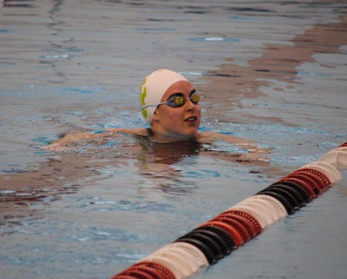 Sarah Gannon, sr., during warm-ups.