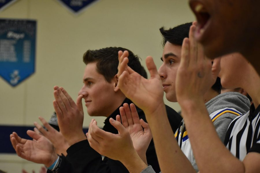 Jacob Ciabatti, sr., and Graham Woods, sr., cheering on the Cougars.
