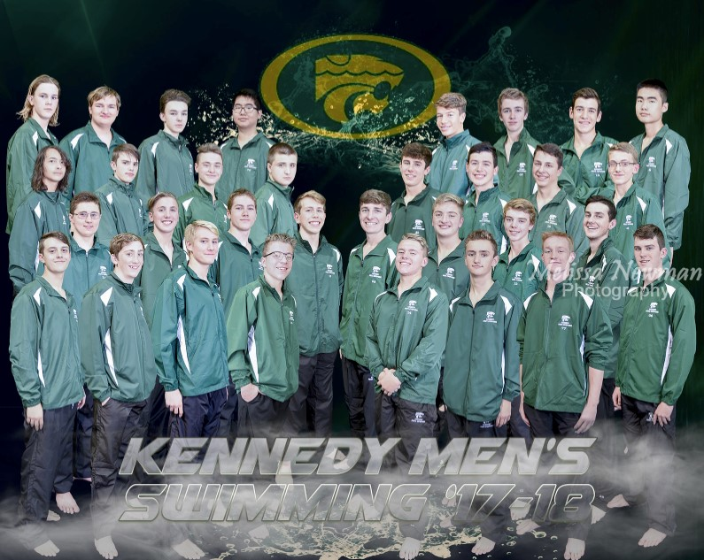 The Kennedy Men's Swimming Team 2017-2018. Photo by Melissa Newman.