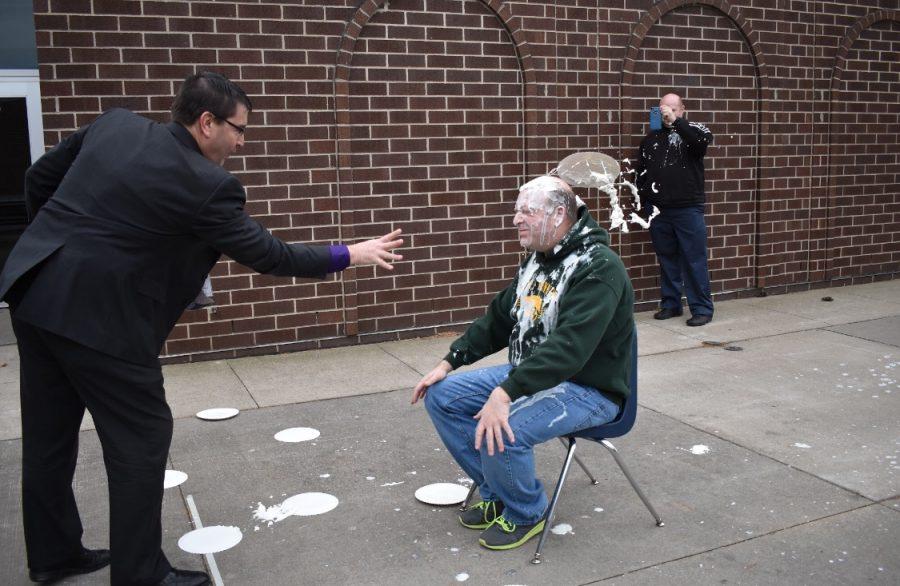 Superintendant Brad Buck made an appearance to pie Jason Kline.