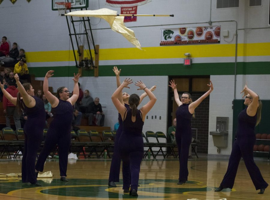 The color guard performed for the halftime entertainment.