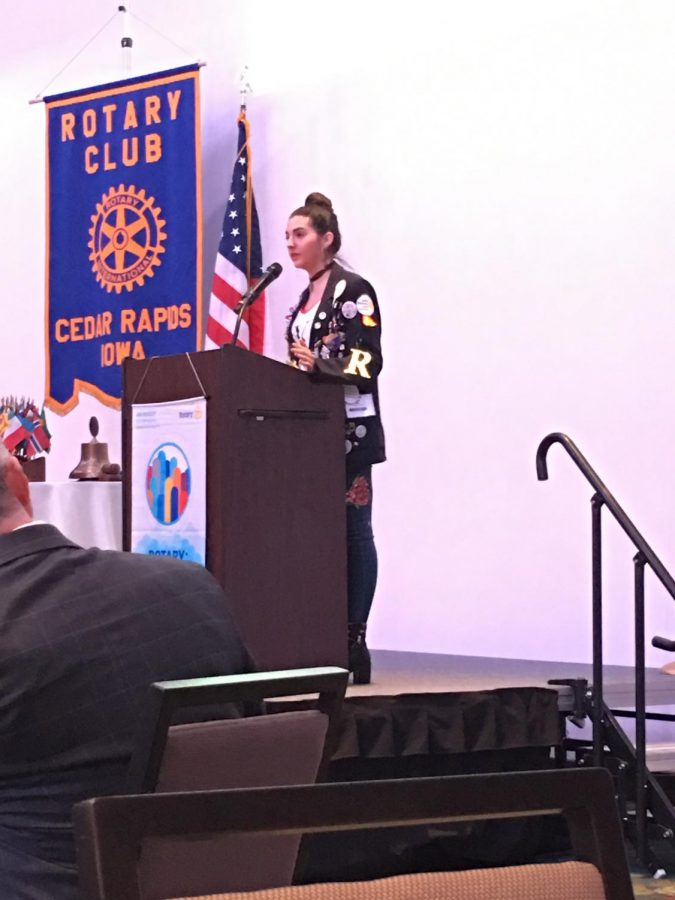 Roberta Prats speaks to Rotary members on Feb. 26.
