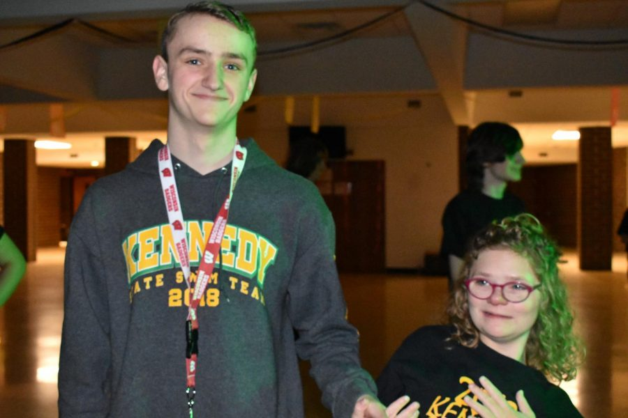 Weston Turner, so., and Ellie Grovert, sr., hanging out at Kennedy's Dance Marathon.