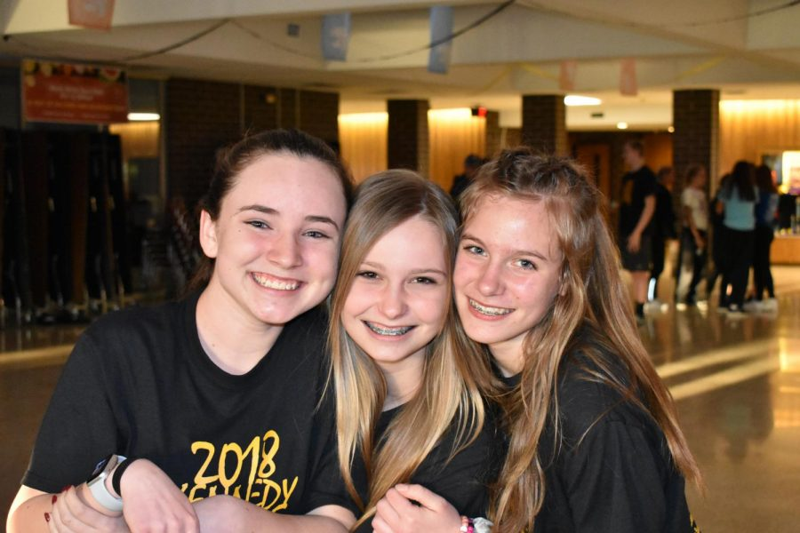Freshmen Kailey Sonders, Sarah Grams and Kaylee Wharton excited for the dance.