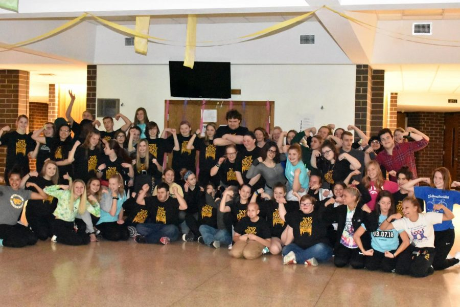 Everyone who attended Dance Marathon flex to represent Jack Strong.