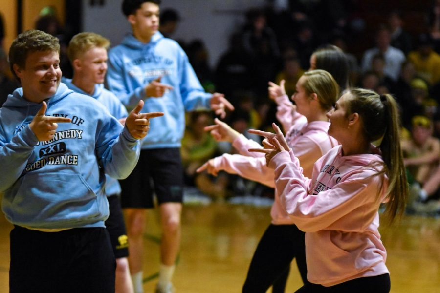 Lucas Petsche, sr., and Katie Kolthoff, sr., in the annual co-ed dance routine.