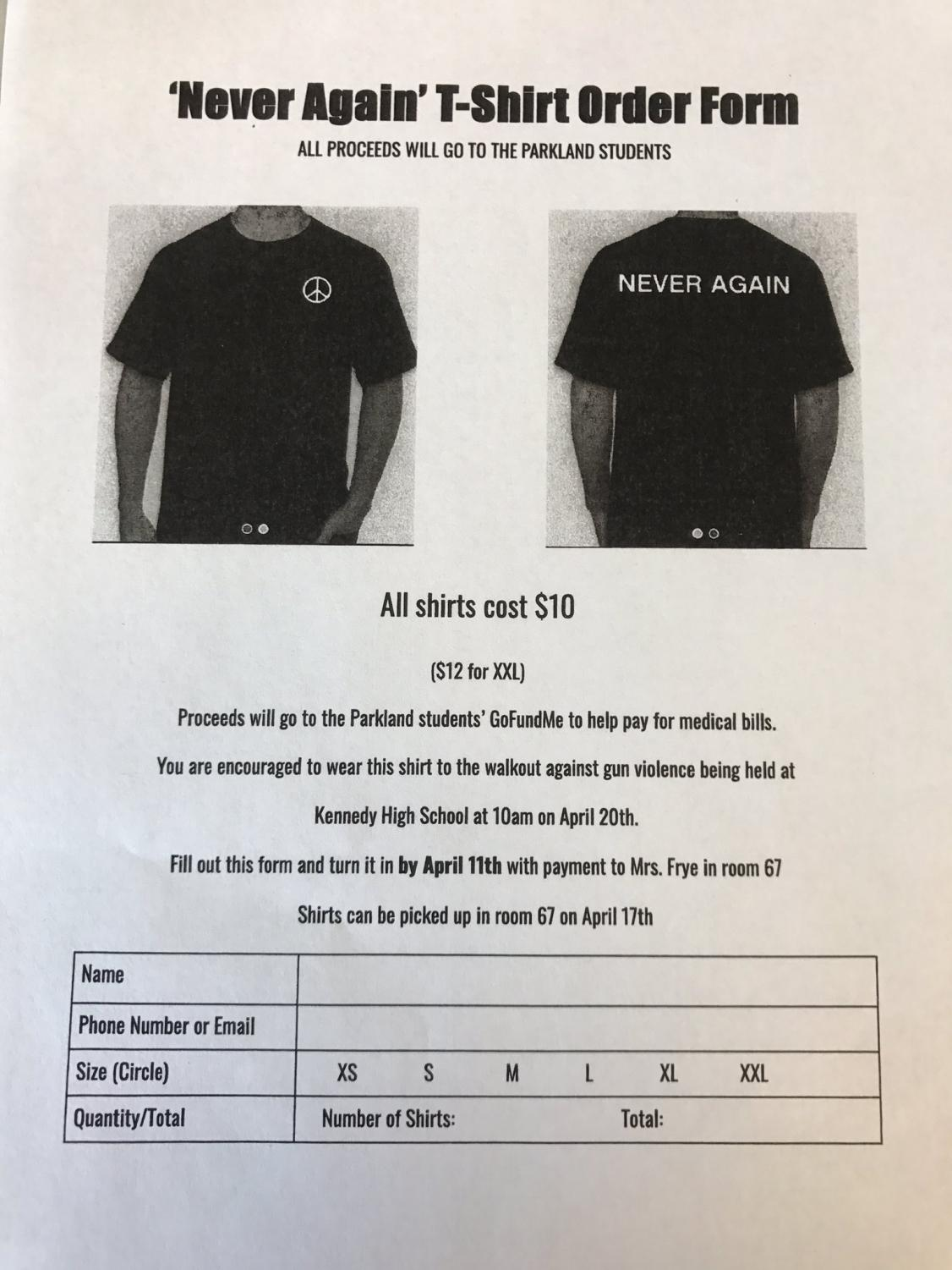 Order forms for the walkout shirts.