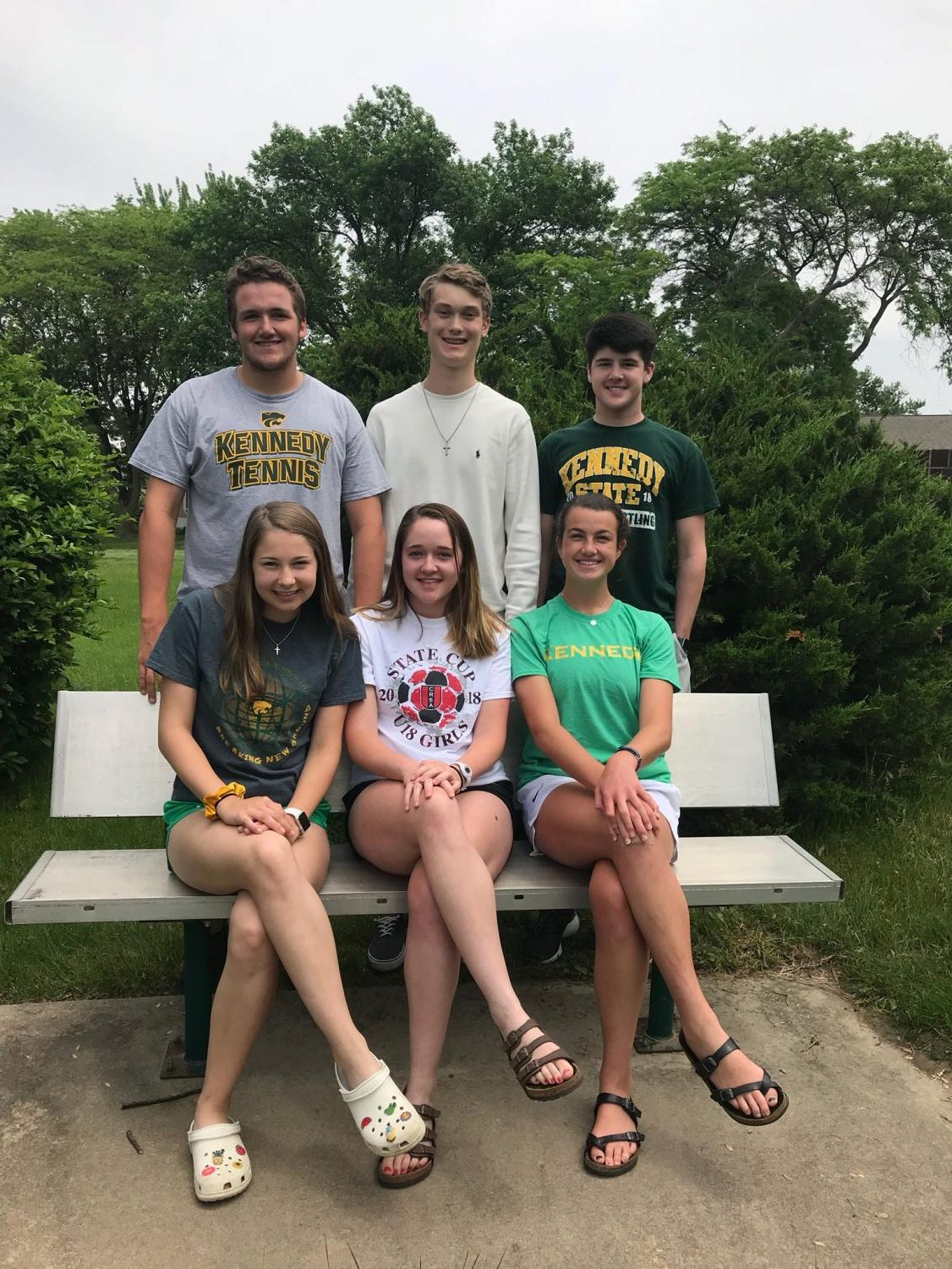 Kennedy student Government officers 2018-2019 school year. top left Noah Gleode, Charles Haefner, Louie Ervin. Bottom right Kia Johnson, Rylee Ervin, Lauryn Vaske.