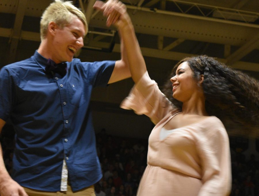 Homecoming candidates Reese Manternach and Jaianna Green, all smiles.