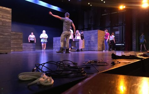 The Peter and the Starcatcher cast at their rehearsal.