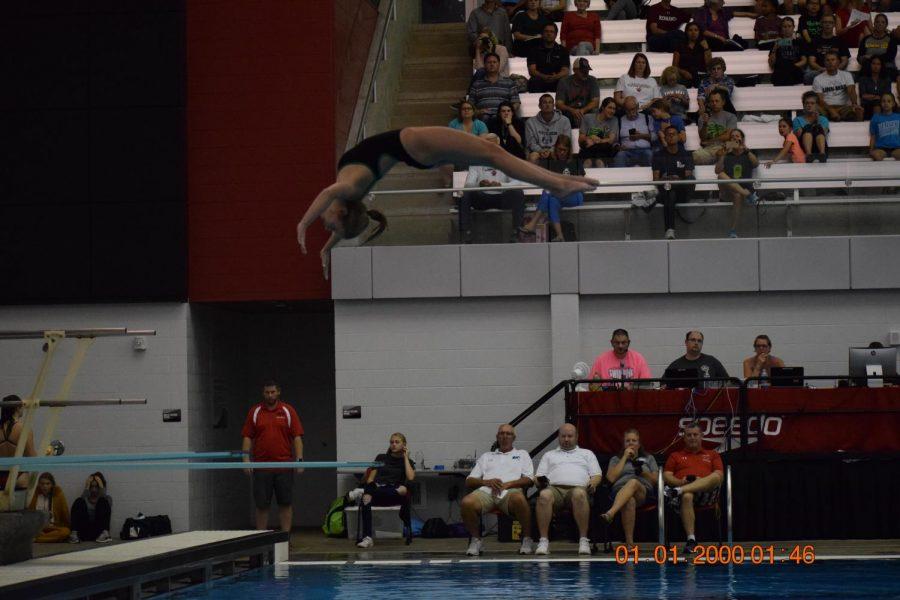 Junior Anna Cater, diving.