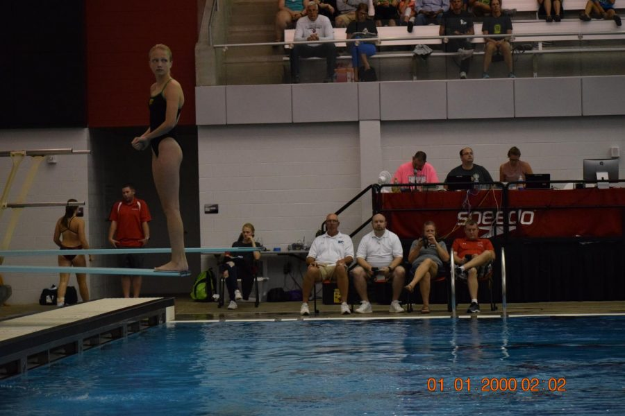 Freshman Audrey Leno, getting ready to dive.