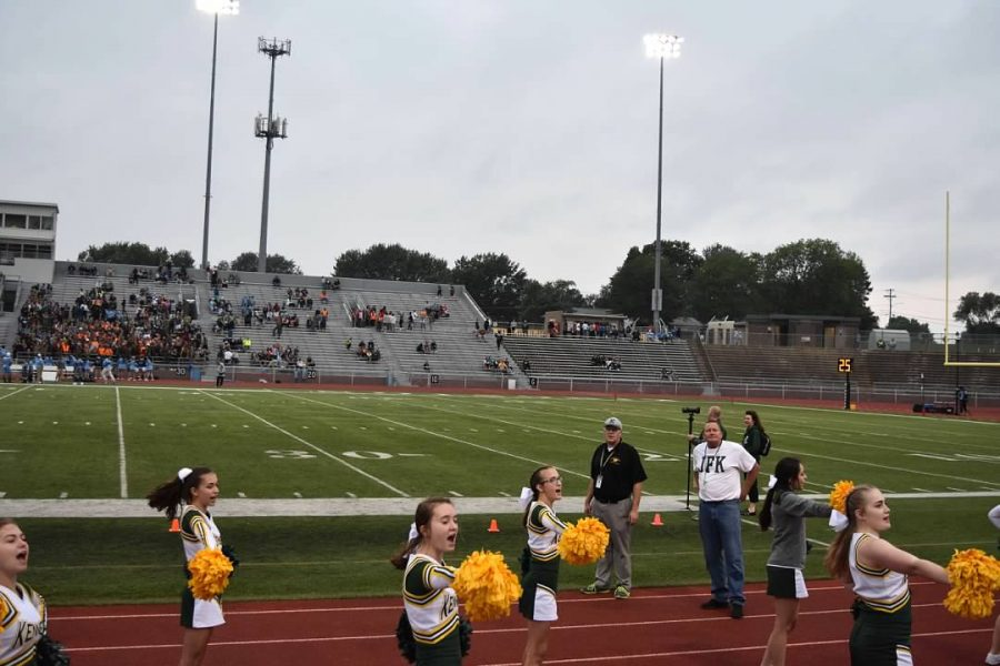 Cheerleaders try to hype up the student section with cheers during the game.