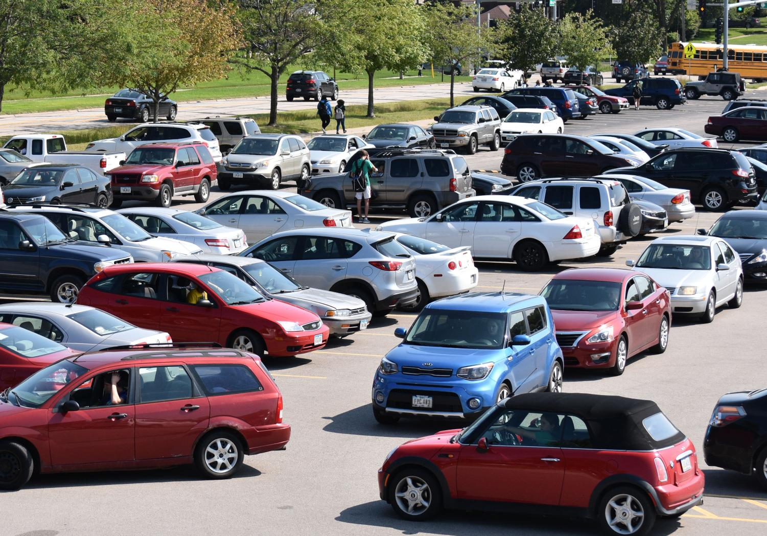 View of the south parking lot after school.