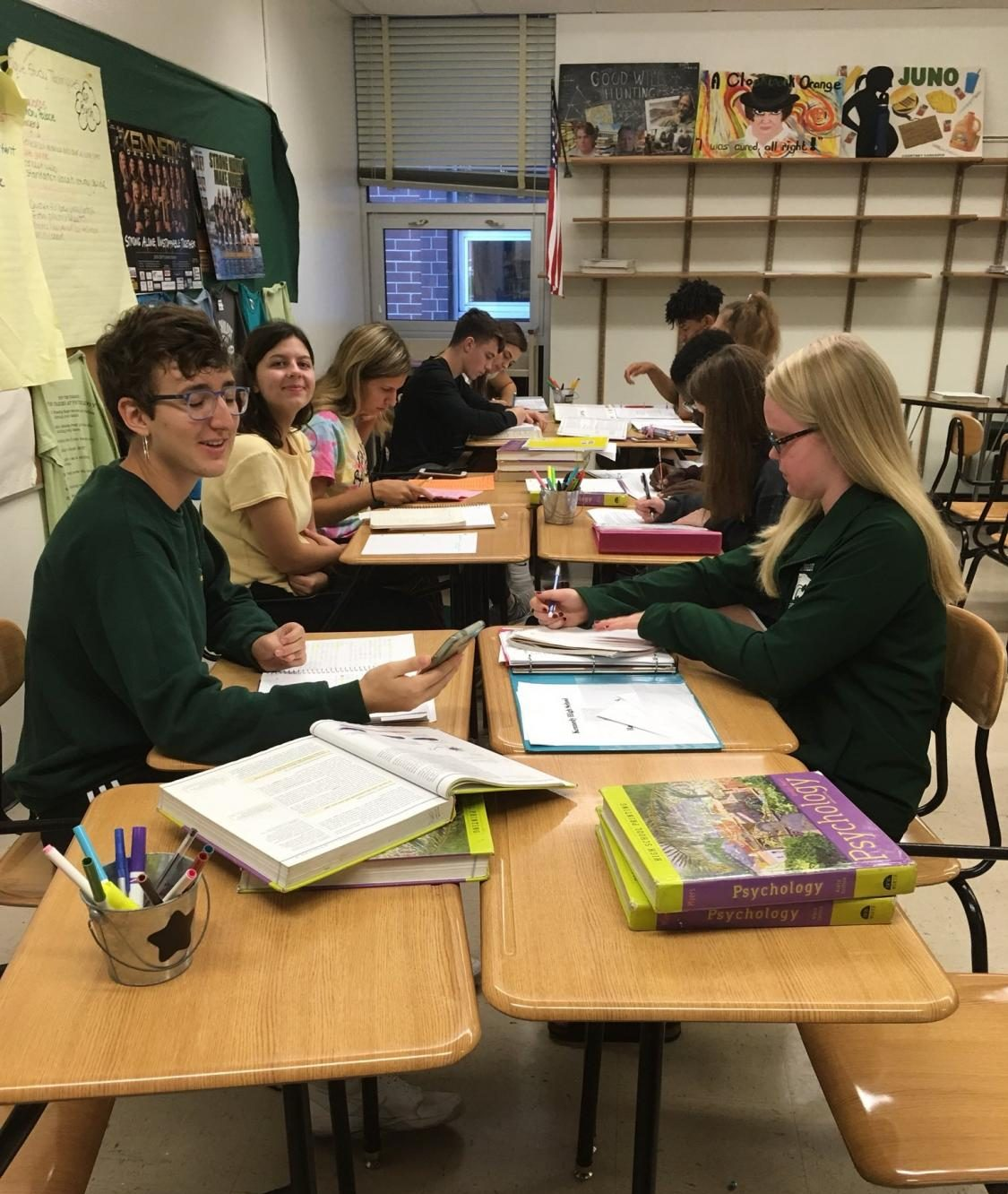 (Left) Seniors Emma Teggatz and Lily Gust helping out underclassmen during SMART Time in Dana Melone's room.
