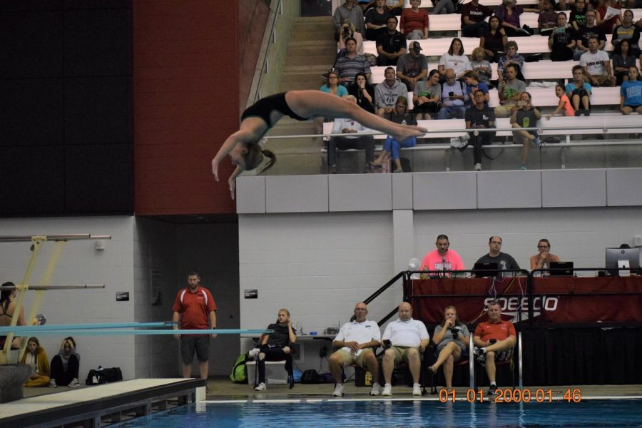 Junior, Anna Cater floating on air.