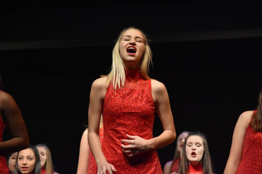 Sophomore Lauren Krzywicki, singing loud.
