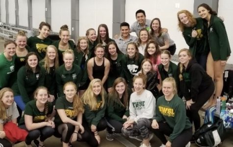 The swimmers and coaches at the MVC Sophomore Conference(October 20) pose for one last photo with Ivan before he leaves to coach at SIU. Photo by Allison Gardner.