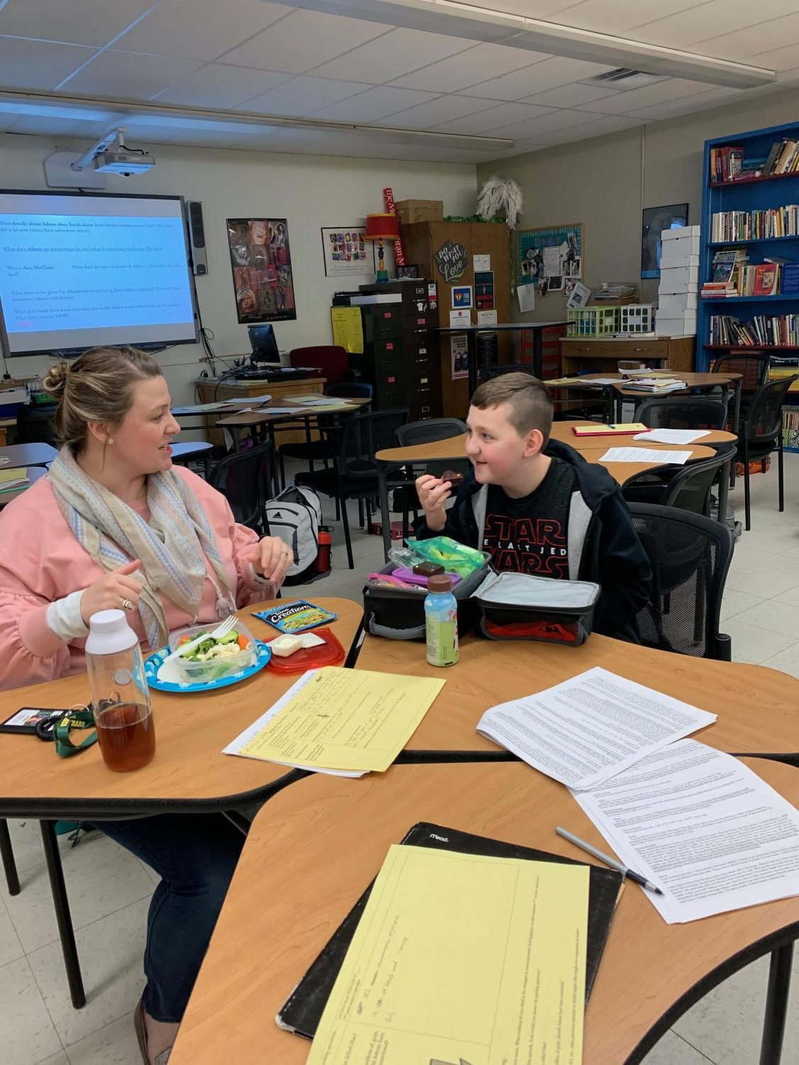 Teacher Christina Langton eats with her son Gabe Langton. G. Langton is a fifth grade student at Pierce Elementary School and his school day was cancelled on Dec. 4 due to icy roads leaving him at Kennedy while C. Langton is on duty.