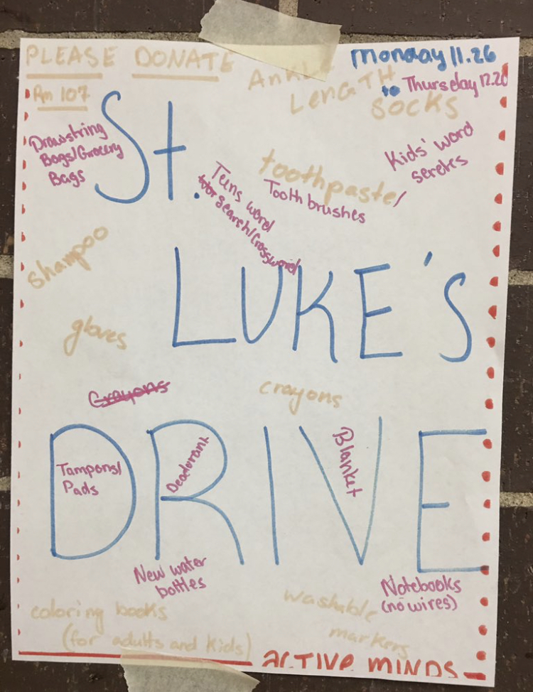 Poster for the St. Luke's drive, containing the items that are needed for the cause.