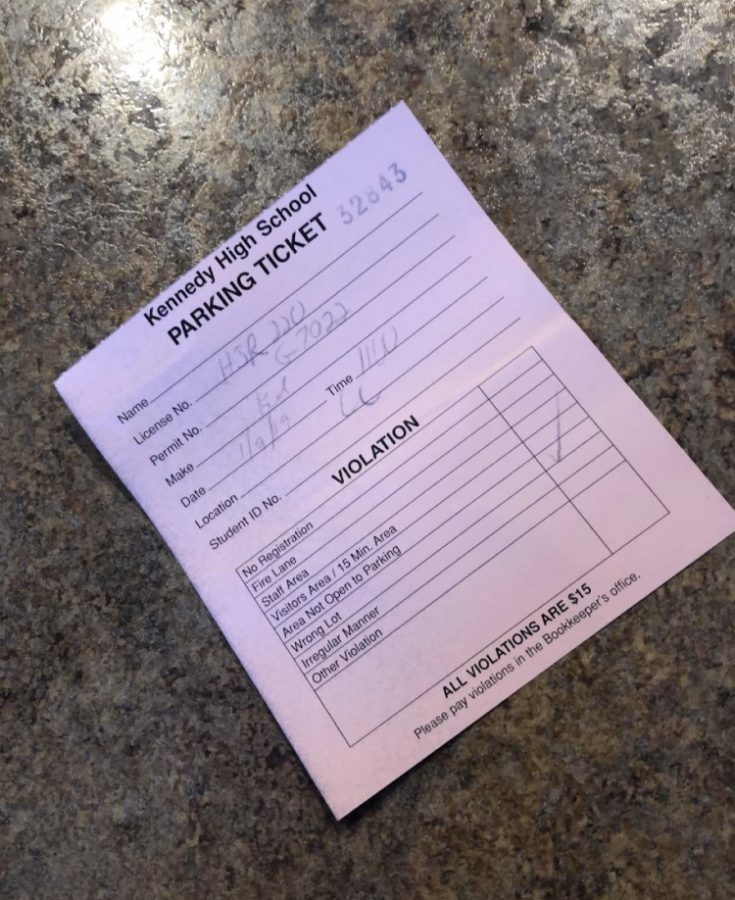 Kennedy parking ticket given out by Carl Barton.