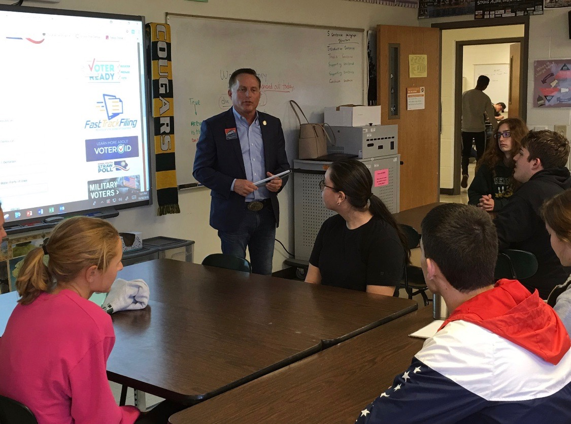 Paul Pate, Iowa Secretary of State, visited with students enrolled in AP United States Government while running for reelection to discuss youth involvement in politics and the importance of the Straw Poll that took place throughout the district.