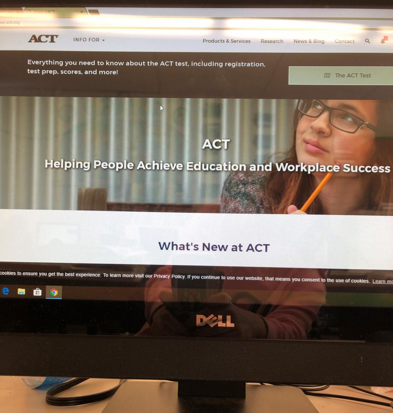 The ACT website, which offers students information about registration and scores.
