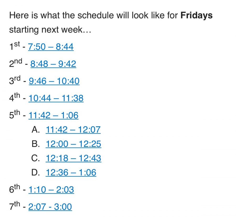 New Friday schedule starting March 1.